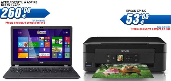 Ordenador portátil Acer e impresora